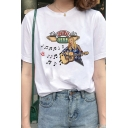 Womens T-Shirt Simple Beauty Guitar Note Cup Letter Pattern Loose Fitted Short Sleeve Round Neck T-Shirt