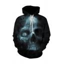 Vintage Mens 3D Hoodie Skull Underwater Pattern Drawstring Cuffed Regular Fitted Long Sleeve Hoodie