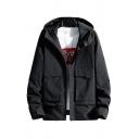 Mens Jacket Fashionable Plain Large Flap Pockets Velcro Cuffs Zipper up Long Sleeve Regular Fit Hooded Casual Jacket