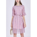 Pink Fancy Ditsy Floral Print Double Layer Tie Waist Boat Neck Bell Half Sleeve Midi A-Line Dress for Women