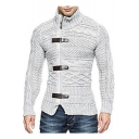 Mens New Stylish Obique Zip Button Front Cable Knit Plain Sweater Cardigan