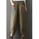 Retro Ethnic Style Patchwork Elastic Waist Casual Loose Wide Leg Pants Linen Pants for Women
