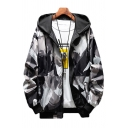Mens Jacket Simple Camouflage Inside-out Zipper down Drawstring Long Sleeve Regular Fit Hooded Casual Jacket