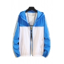 Vintage Mens Jacket Colorblock Side Stripe Cuffed Zipper up Long Sleeve Regular Fit Hooded Sun-Protective Jacket