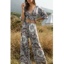 Classic Womens Jumpsuits Floral Geometric Pattern Bow Detail Cut-out Half Sleeve Deep V Neck Loose Fitted Long Jumpsuits