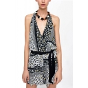 Womens Rompers Stylish Leopard Skin Striped Pattern Bow-Knot Detail Keyhole Back Surplice Neck Loose Fitted Sleeveless Rompers
