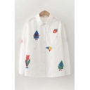 Cute Mixed Cartoon Printed Long Sleeve Point Collar Button-up Loose Shirt Top