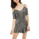 Basic Womens Rompers Metallic Short Sleeve Cold Shoulder Regular Fitted Rompers