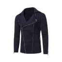 Mens Jacket Trendy Solid Color Zipper Cuffs Wide Lapel Zipper up Front Long Sleeve Slim Fitted Casual Jacket