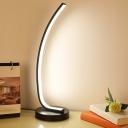 Metallic Bent Night Table Light Minimalistic LED Nightstand Lamp in Black/White for Kids Room