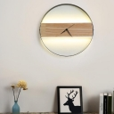 Round/Rectangular Clock Design Sconce Asian Style Wooden Bedroom LED Wall Mounted Light in Beige