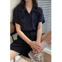 Leisure Womens Contrast Stitch Short Sleeve Spread Collar Button Up Chest Pockets Relaxed Fit Shirt Top in Black