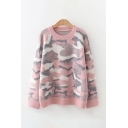 Pop Camo Printed Crew Neck Long Sleeve Loose  Knitted Pullover Sweater for Ladies