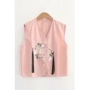 Fashion Ladies Floral Embroidery Tassel Embellished Button Up V Neck Sleeveless Regular Fitted Cardigan Vest