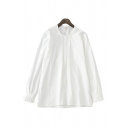 Simple Girls Solid Color Long Sleeve Collarless Button Up Pleated Loose Shirt