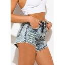 Womens Shorts Simple Acid Wash Distressed Frayed Hem Zipper Fly Regular Fitted Denim Shorts