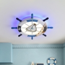 Metal Rudder Flush Mount Light Minimalist LED Blue Close to Ceiling Lamp with Fishing Net Deco