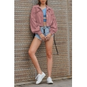 Popular Womens Corduroy Blouson Sleeve Spread Collar Button Up Flap Pockets Relaxed Crop Jacket