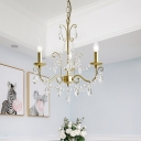 3/6 Light Curved Arm Chandelier Lighting Modernism Champagne Metal Pendulum Lamp with Crystal Droplet