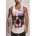 Mens Tank Top Simple Abstract American Flag Skull Head Painting Breathable Mesh Scoop Neck Sleeveless Slim Fitted Tank Top