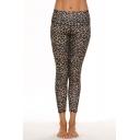 Dainty Leggings Animal Leopard Print Top-stitching Mid-rise Skinny Cropped Regular Leggings for Women