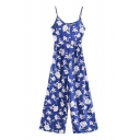 Women's Fancy Jumpsuits Plant Floral Leaf Printed Sleeveless Crinkled Strap Side Zip Wide-leg Jumpsuits