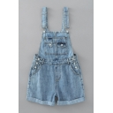 Women's Fancy Overalls Plain Sleeveless Multi Pockets Strap Button Turn-up Hem Backless Short Overalls