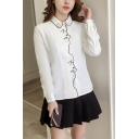 Lovely Cat Printed Lapel Collar Long Sleeve Buttons Down Shirt