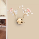 Gold Branching LED Wall Light Sconce Modern Beveled Crystal 2 Lights Indoor Wall Lamp Fixture with Flower Deco