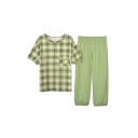 Vintage Ladies Tartan Print Crew Neck Short Sleeve Loose Tee Top & Plain Elastic Waist Pocket Capri Pants Pajama Set in Green