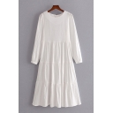 Womens Leisure Solid Color Long Sleeve Crew Neck Ruffled Hem Midi Pleated Swing Dress in White