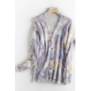 Pretty Ladies Tie Dye Printed Long Sleeve V-neck Button Up Knit Loose Fit Cardigan in Purple