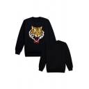 Trendy Tiger Pattern Crew Neck Long Sleeve Relaxed Fit Pullover Sweatshirt
