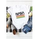 Unique Rainbow Striped Letter Nasa Printed Round Neck Roll Up Short Sleeve Regular Fitted T-Shirt for Women