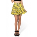 Plaid and Stripes Print High Waist Pleated Mini Skirt