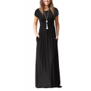 Leisure Solid Color Short Sleeve Crew Neck Maxi Pleated A-line Dress