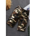 Cool Mens Shorts Camouflage Knee-Length Drawstring Waist Regular Fitted Cargo Shorts