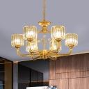 Drum Chandelier Light Fixture Modern Faceted Crystal 6/8 Heads Black/Gold Hanging Lamp Kit with Sputnik Design