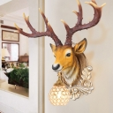 Deer Head Living Room Surface Wall Sconce Traditional Resin 1 Light Grey/Yellow Wall Light with Globe Crystal Embedded Shade