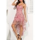 Pretty Ladies Allover Flower Embroidery Sheer Mesh Spaghetti Straps High Low Hem Mid Flowy Slip Dress in Pink