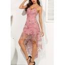 Pretty Ladies Allover Flower Embroidery Sheer Mesh Spaghetti Straps High Low Hem Mid Flowy Slip Dress in Pink