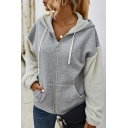Pop Womens Drawstring Pocket Patch Long Sleeve Oversized Zip Up Hoodie Outerwear