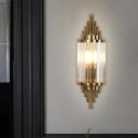 Half Cylinder Sconce Light Fixture Retro Crystal Prisms 1 Bulb Bedside Wall Mount Light in Brass