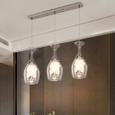 Glass-Shape Restaurant Multi Pendant Clear Glass LED Simple Drop Lamp with Crystal Droplet in Silver, Warm/White Light