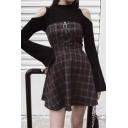 Retro Womens Dress Plaid Pattern Strapless Three-Buckle Zipper Embellished Short A-Line Dress