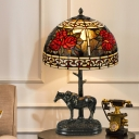 1 Head Bowl Night Table Light Tiffany Bronze Stained Glass Nightstand Lamp with Resin Horse and Baby Base