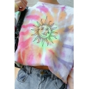 Womens Simple Pullover Sweatshirt Tie Dye Sun Pattern Long Sleeve Loose Fit Crew Neck Pullover Sweatshirt