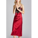 Popular Womens Patchwork Backless V Neck Spaghetti Straps Sleeveless Silk Midi Sheath Cami Nightgown
