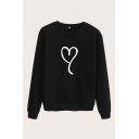 Simple Heart Print Round Neck Long Sleeve Regular Fitted Pullover Sweatshirt