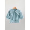Fancy Blue Short Sleeve Sailor Collar Button Up Regular Fit Crop Blouse Top for Ladies